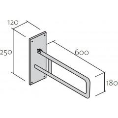 CERSANIT - Nástěnné madlo 60 pro WC, pohyblivé (K97-034)